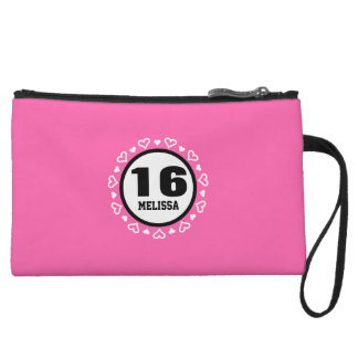 16th Birthday for Her HEARTS Frame PINK P29AZ Wristlet Wallet