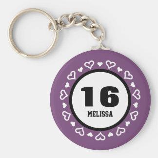 16th Birthday for Her HEARTS Frame PURPLE P16R Basic Round Button Keychain