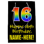 "[ Thumbnail: 16th Birthday: Fun, Bold, Colorful, Rainbow ""16"" Gift Bag ]"