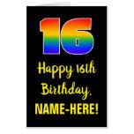 [ Thumbnail: 16th Birthday: Fun, Colorful, Happy, Rainbow # 16 Card ]