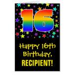 [ Thumbnail: 16th Birthday: Fun, Colorful Stars + Rainbow # 16 Card ]