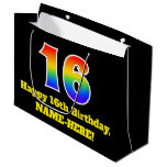 [ Thumbnail: 16th Birthday ~ Fun, Colorful, Vibrant, Rainbow 16 Gift Bag ]