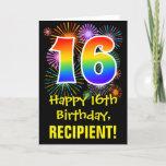 [ Thumbnail: 16th Birthday: Fun Fireworks Pattern + Rainbow 16 Card ]