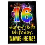 [ Thumbnail: 16th Birthday: Fun Fireworks Pattern + Rainbow 16 Gift Bag ]
