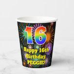 [ Thumbnail: 16th Birthday: Fun Fireworks Pattern + Rainbow 16 ]