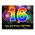 [ Thumbnail: 16th Birthday – Fun Fireworks Pattern + Rainbow 16 Postcard ]