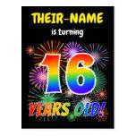 "[ Thumbnail: 16th Birthday - Fun Fireworks, Rainbow Look ""16"" Postcard ]"
