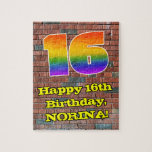 [ Thumbnail: 16th Birthday: Fun Graffiti-Inspired Rainbow 16 Jigsaw Puzzle ]