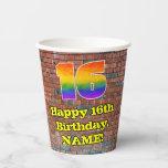 [ Thumbnail: 16th Birthday: Fun Graffiti-Inspired Rainbow 16 ]