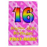 [ Thumbnail: 16th Birthday: Fun Pink Hearts Stripes; Rainbow 16 Gift Bag ]