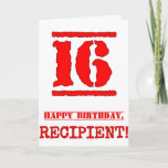 [ Thumbnail: 16th Birthday: Fun, Red Rubber Stamp Inspired Look Card ]