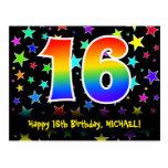 [ Thumbnail: 16th Birthday: Fun Stars Pattern, Rainbow 16, Name Postcard ]