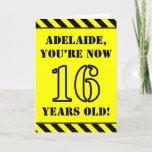 [ Thumbnail: 16th Birthday: Fun Stencil Style Text, Custom Name Card ]