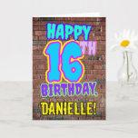 [ Thumbnail: 16th Birthday - Fun, Urban Graffiti Inspired Look Card ]