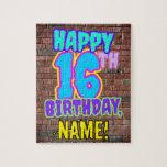 [ Thumbnail: 16th Birthday ~ Fun, Urban Graffiti Inspired Look Jigsaw Puzzle ]