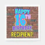 [ Thumbnail: 16th Birthday ~ Fun, Urban Graffiti Inspired Look Napkins ]