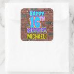 [ Thumbnail: 16th Birthday – Fun, Urban Graffiti Inspired Look Sticker ]