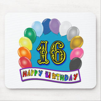 16th Birthday Gifts with Assorted Balloons Design Mouse Pad
