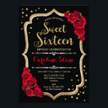 "16th Birthday - Gold Black Red Roses Invitation<br><div class=""desc"">Sweet Sixteen Birthday Invitation