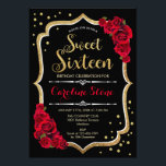"""16th Birthday - Gold Black Red Roses Invitation<br><div class=""""desc"""">Sweet Sixteen Birthday Invitation Classy red black white design with faux glitter gold. features red roses,  confetti and stylish script font. Perfect for an elegant 16th birthday party.</div>"""