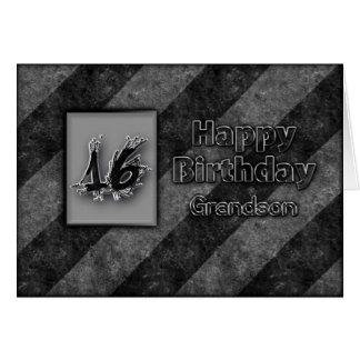 16th BIRTHDAY - GRANDSON - GRUNGE Cards