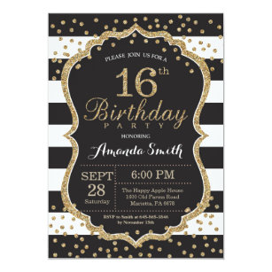 16th Birthday Invitation Black And Gold Glitter