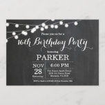 """16th Birthday Invitation Chalkboard<br><div class=""""desc"""">16th Birthday Invitation with String Lights Chalkboard Background. 13th 15th 16th 18th 21st 30th 40th 50th 60th 70th 80th 90th 100th,  Any age. For further customization,  please click the """"Customize it"""" button and use our design tool to modify this template.</div>"""