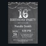 16th Birthday Invitation Chalkboard String Lightsbrdiv Classdesc