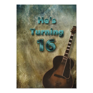 16th Birthday Invitation - Guitar/Male