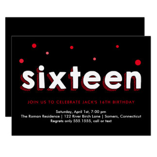 16th Birthday Invitation, Sketched Letters, Red Card