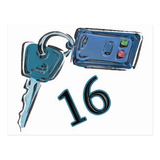 16th Birthday Keys Gifts Postcards