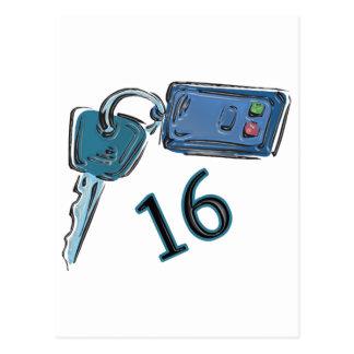 16th Birthday Keys Gifts Post Cards