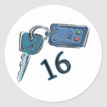 16th Birthday Keys Gifts Round Stickers
