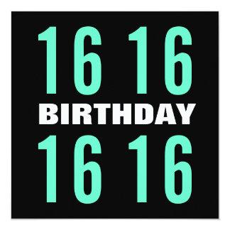 16th Birthday Modern Mint and Black W1020 Card