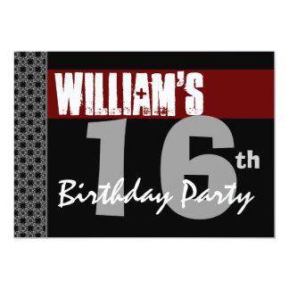 16th Birthday Modern Red Black Silver W1701 5x7 Paper Invitation Card