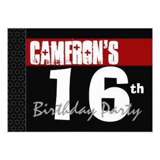 16th Birthday Modern Red Black White Stars v01 Announcement