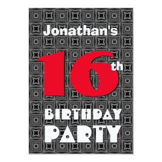 16th Birthday Modern Teen Black White Pattern A01 Card