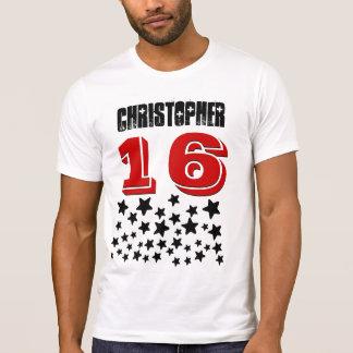 16th Birthday or ANY YEAR Burst of BLACK Stars V01 T-Shirt
