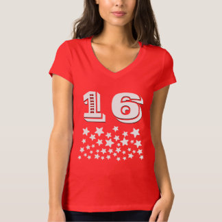16th Birthday or ANY YEAR Burst of WHITE Stars A06 T Shirt