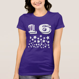 16th Birthday or ANY YEAR Burst of WHITE Stars A14 T-shirt