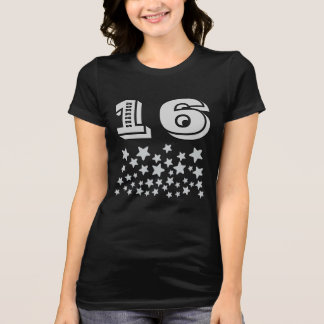 16th Birthday or ANY YEAR Burst SILVER Stars A19 T Shirt