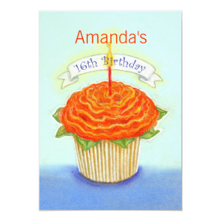 16th Birthday Orange Flower Cupcake with Candle Card