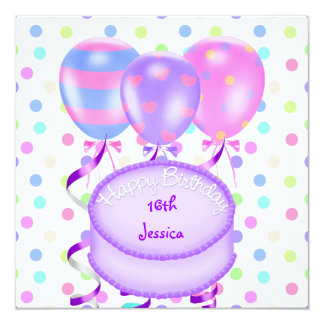 16th Birthday Party Balloons Cake Streamers Card