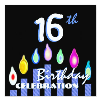 16th Birthday Party Blue Striped Candles Recycled Card