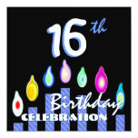 16th Birthday Party Blue Striped Candles Recycled Invitations