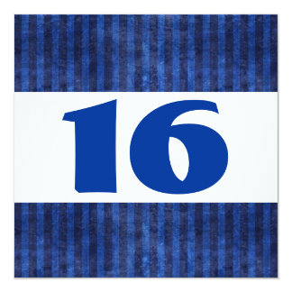 16th Birthday Party Blue Stripes Modern W864 Invitation