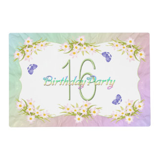 16th Birthday Party Butterflies and Wildflowers Placemat