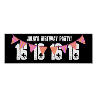 16th Birthday Party Custom Name PINK BANNERS F01 Poster