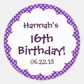 16th Birthday Party Cute Polka Dots Custom Name Stickers