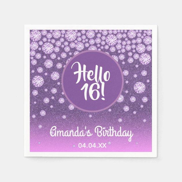 16th Birthday Party Diamonds Purple Pink Glitter Napkin Zazzle Com